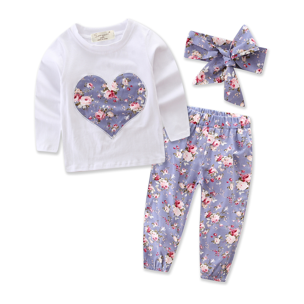 Hot Sale Toddler Girl Clothing Set 2018 Autumn New Fashion Sports Suit Heart Tops+pants+headband 3pcs Outfits Baby Girls Clothes 3pcs outfit infantil girls clothes toddler baby girl plaid ruffled tops kids girls denim shorts cute headband summer outfits set