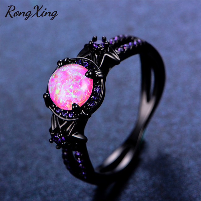 RongXing Charming Flower Purple Birthstone Rings for Women Pink Fire