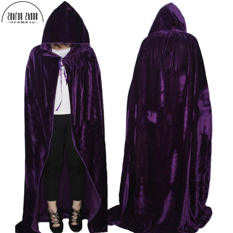 New Arrival Adult Witch Long Purple Red Black Blue Cosplay Cloaks Hooded Capes Halloween Costumes For Women Men