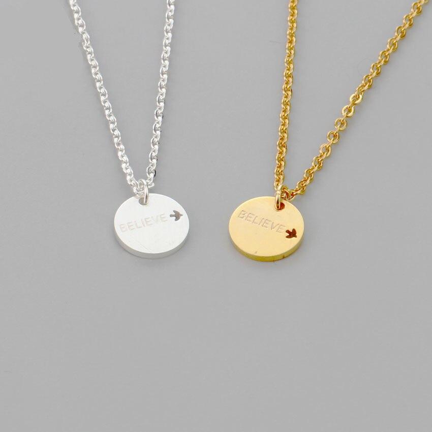 Zlaté stříbrné ryté věřící kruh přívěsek náhrdelník ženy mince z nerezové oceli Erkek kolye Promoce Dárky BFF šperky