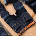 2017 SULEE Hombres de Mezclilla Vaqueros Rectos Delgados Pantalones Vaqueros Masculinos Pantalones de Moda de Estilo Clásico Casual de Negocios Hombres Azul Jeans Rasgados