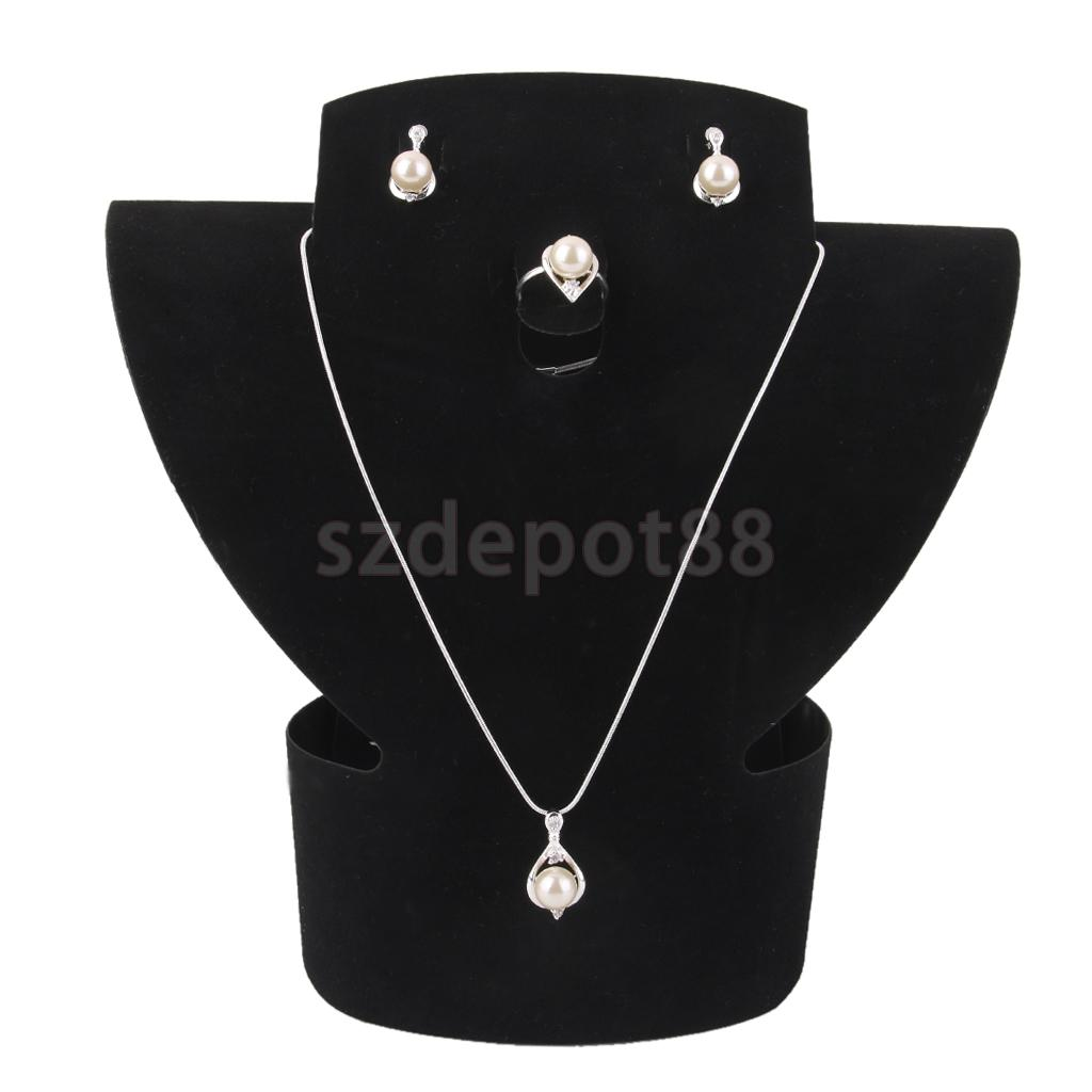 Black Velvet Ring Earring Necklace Jewelry Display Stand Rack Holder
