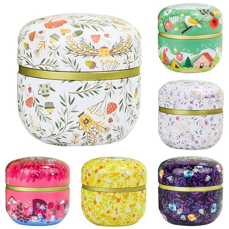 Multifunction Round Tea Caddies Metal Tea Box With Lid Tea Jar Mini Storage Boxes Caddy Coffee Powder Cans