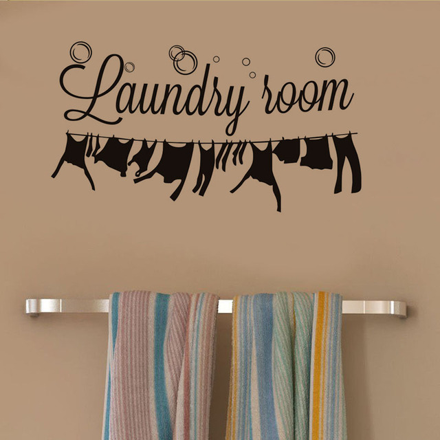 Laundry Room Wall Sticker Laundry Signs Window Wall Decor Art Removable  Vinyl Wallpaper Stickers Home Decoration