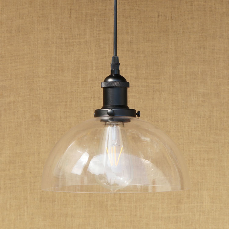 Modern LED Edison bulb Pendant Light Fixture Semi-circular glass shade pendant lamp For Kitchen Lights/dining room/bar E27 220V modern 3 6 lights crystal glass clear wineglass wine glass ceiling light lamp bedroom dining room fixture gift ems ship