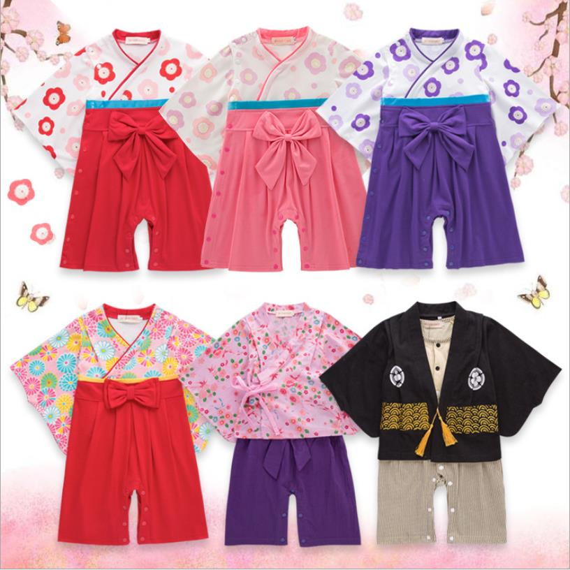Japanese Kimono Style Baby Girl Cotton Print Cute   romper   Baby Boy 5 Types Infant Bebes Long Sleeves Coveralls ws41 free shipping