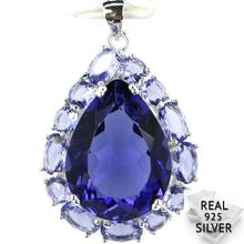 Guaranteed Real 925 Solid Sterling Silver 5.9g Elegant Pear Shape Iolite Pendant 33x22mm