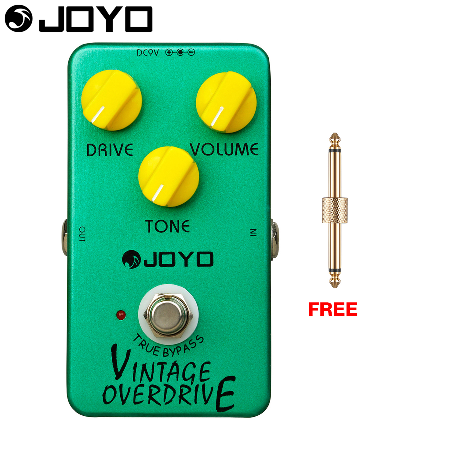 Joyo Vintage Overdrive Electric Guitar Effect Pedal True Bypass Classic Tubescreamer JF-01 with Free Connector aroma adr 3 dumbler amp simulator guitar effect pedal mini single pedals with true bypass aluminium alloy guitar accessories