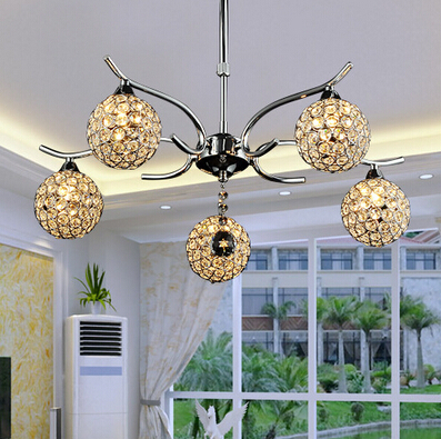modern brief luxurious crystal lamp silver K9 crystal round Dia10cm led G9*5 heads pendant light for living room bedroom lamp free shipping european style modern luxury brief crystal candle pendant lamp with 3 heads 5 heads