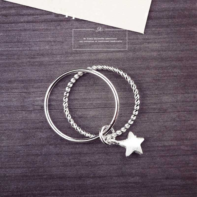 Multi-layer Star Simple Wild 925 Sterling Silver Temperament Personality Fashion Female Trendy Resizable Opening Rings SRI034