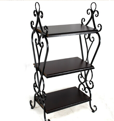 Us 155 2 20 Off European Wrought Iron Shelf The Sitting Room Multi Layer Retro Magazine Rack Real Wood Floor Of Small Tea Table In