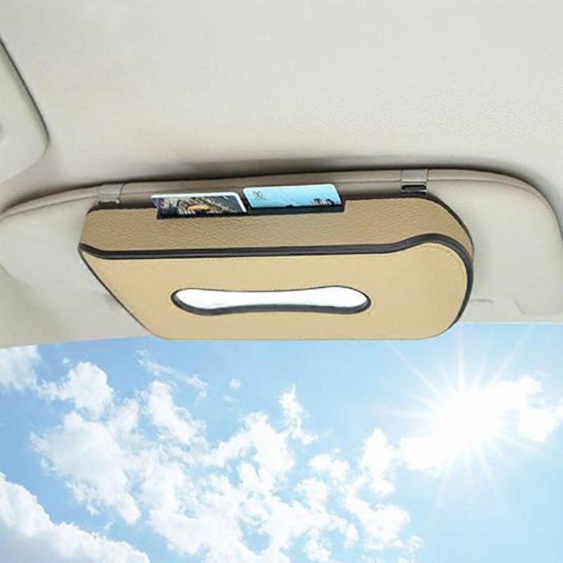 Car sun visor tissue box holder Leather skylight backseat hanging pater towel case napkin cards Storage bag interior accessores