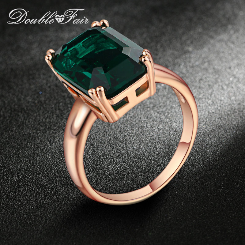 Double Fair Brand Emerald Ring Rose Gold Plated Fashion Red/<font><b>Green</b></font> Big Crystal Imitation Ruby Wedding Jewelry For Women DFR700