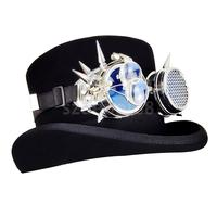 Black Steampunk Top Hat With Goggles Halloween Adult Costume Accessory