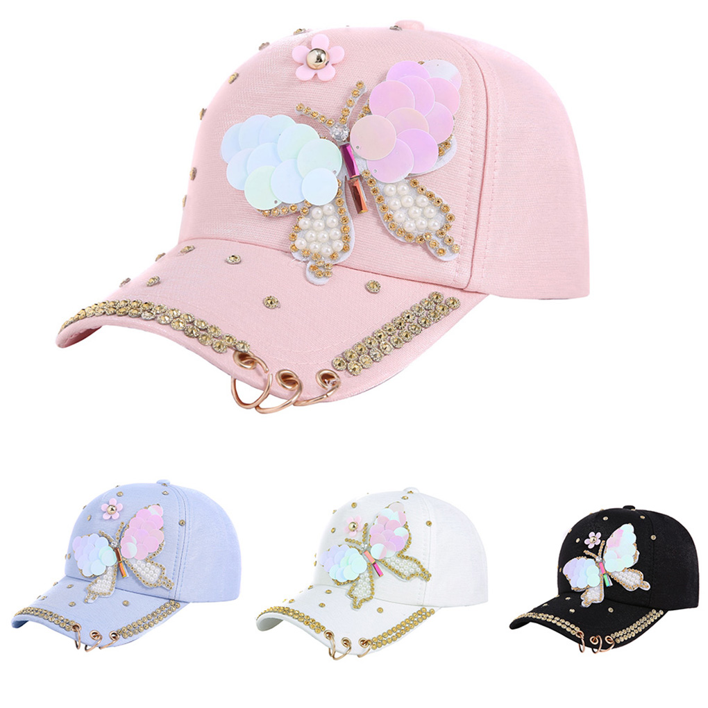 Summer Women Sequin Sparkly Bling Butterfly Peaked   Cap   Hat Studded Rhinestone Pearl Cotton   Baseball     Cap