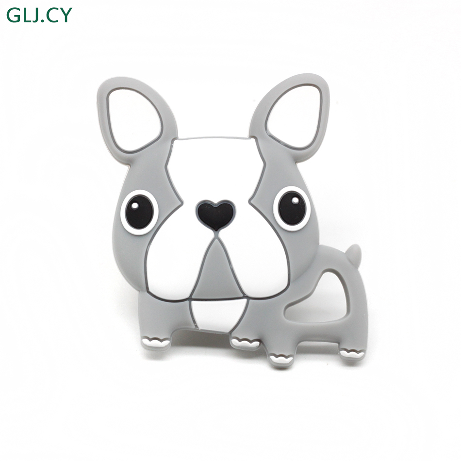 1pcs Cartoon Gray French Bulldog Teething Dog Pendant For Bracelets Making Lovely Boys And Girls Baby Silicone Teethers