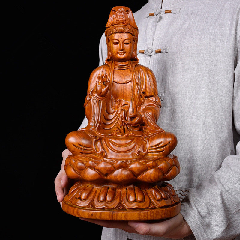 40CM Large GOOD HOME Temple Spiritual protection Bless family Handmade Yellow pear wood carving Lotus Guanyin