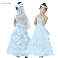 Fabryka Hurtownie Dzieci Suknia Balowa 3 T-8 T Dzieci Połowy Łydki Flower Girl Dresses Haft Bialy pierwsza Komunia Sukienka Satyna