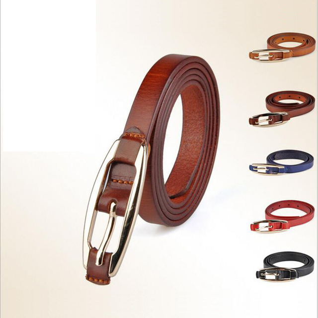 [Himunu] Head Layer Cowhide Leisure Belts for Women Stick Skin Fine Needle Buckle Belt Fashion Decorative Belt Colors Black Red