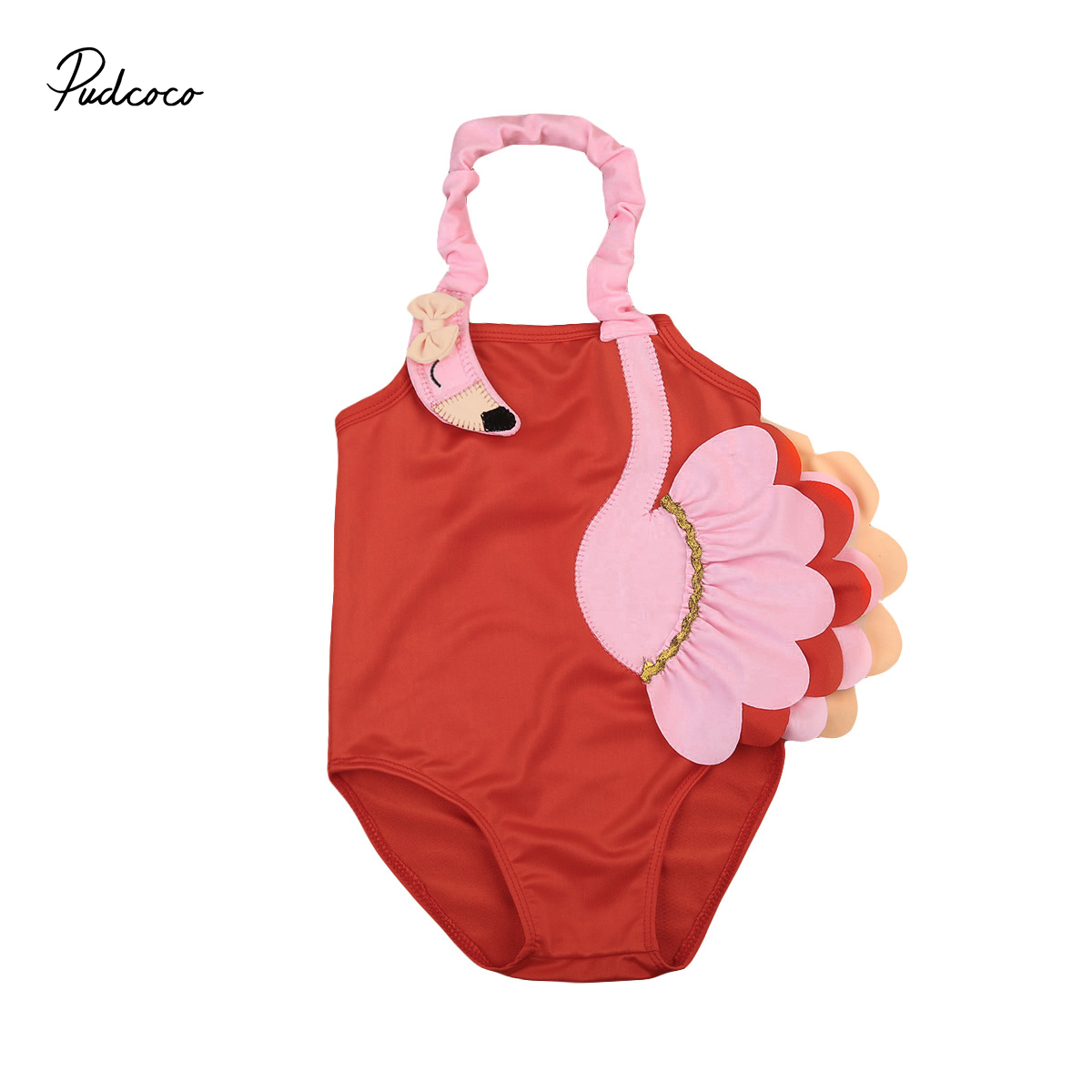 Toddler Kids Baby Girls Swimsuit 3D Flamingo Bikinis Swimwear Swimming Ruffle Halter Bathing Suit One-Piece Romper ...