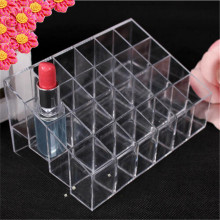 24 Transparent Lipstick Storage Box Acrylic Lipstick Holder Case Makeup Organizer Cosmetic Display Stand New Free Shipping S439