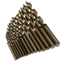 DWZ 15pcs Cobalt Drill Bits 5 M35 HSS Co Steel Straight Shank Twist Drill 1 5