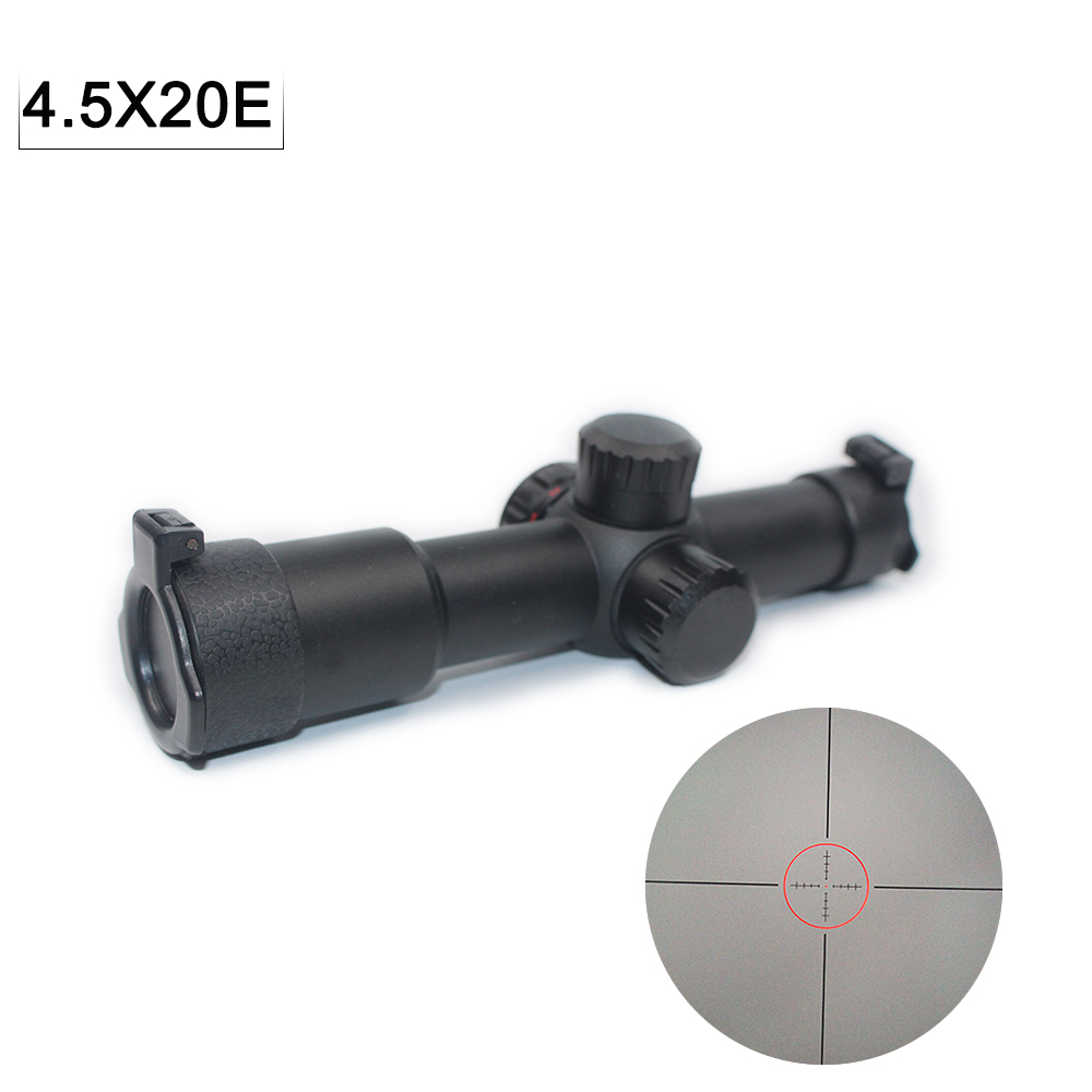 Hunting Scope 4.5x20E Riflescope Red Lighting Shorting With Etched Glass Flip Open Lens Caps And Mount Holographic Sight