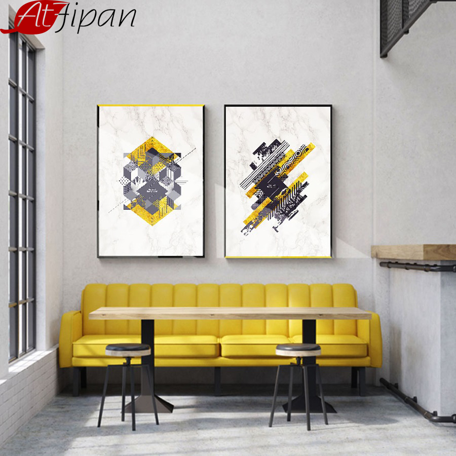 Abstract Gold Foil Geometric Decorative Wall Picture for Room ...