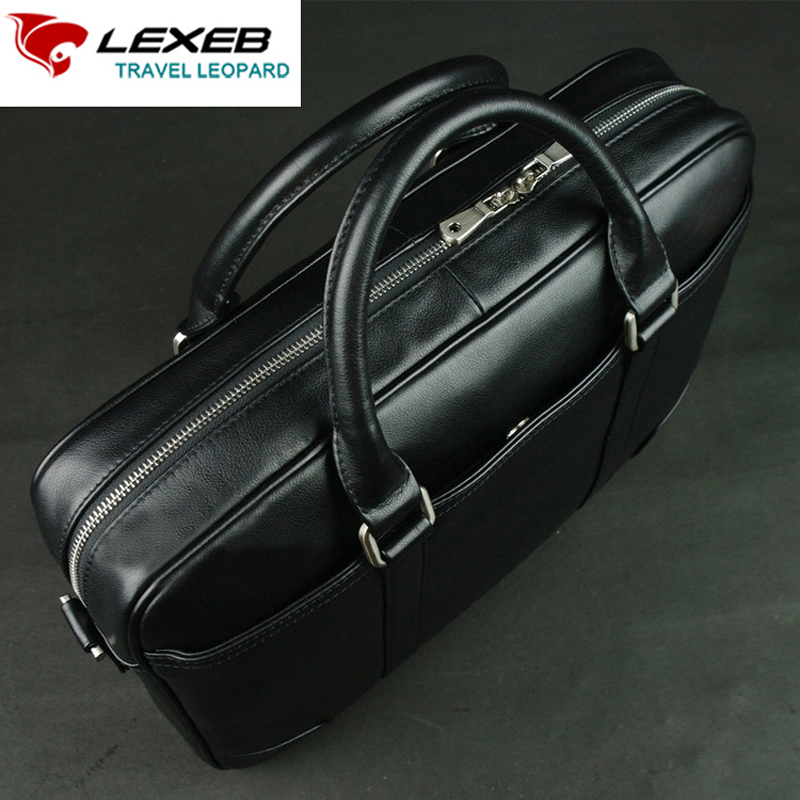 LEXEB Brand Full Grain Leather Men's Briefcase 15 Inches Laptop Bag High Quality Casual Office Bags For Men 42cm Length Black lexeb brand lawyer briefcase vintage crazy horse leather men laptop bag 15 inches high quality office bags 42cm length brown