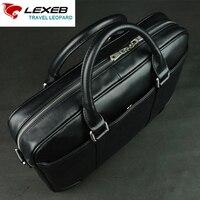 LEXEB Luxury Brand Design Men Real Leather Business Laptop Bag 15 Mens Shoulder Bags High Quality
