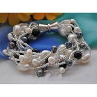 10 Strengen 8 inches Grijs Wit Zwart Zoetwaterparels Armband Black Stone Kralen Sieraden Magneet Sluiting