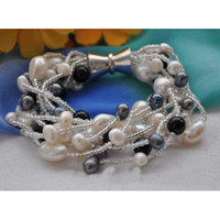 10 Strands 8 Inches Gray White Black Freshwater Pearl Bracelet Black Agate Beads Jewelry Magnet Clasp