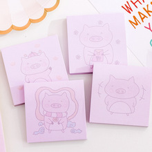 1 Pcs Cute Pink Pig Sticky Notes Memo Pad Student Kawaii Escolar Stationery Label Planner Stickers School Supplies