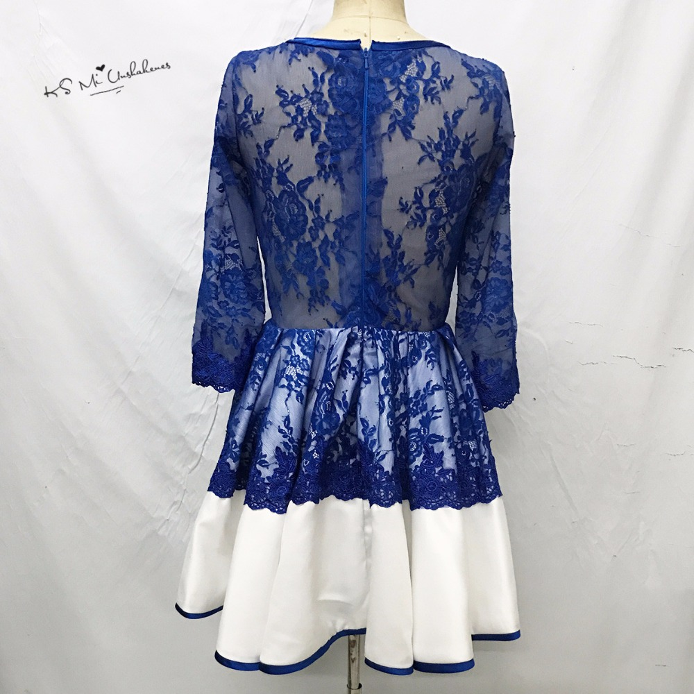 Robe de Cocktail Vestido de Festa Curto Royal Blue Lace Cocktail ...