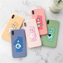Super cute candy rainbow bear phone case for iphone Xs MAX XR X 6 6s 7 8plus jelly soft shield care bears fundas 8
