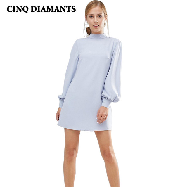 Micro Mini Dress Hipster Cute Party Formal Dresses For Women Light Blue  Lantern Long Sleeves Turtleneck Vestidos Robe Femme Fall b53a477a5