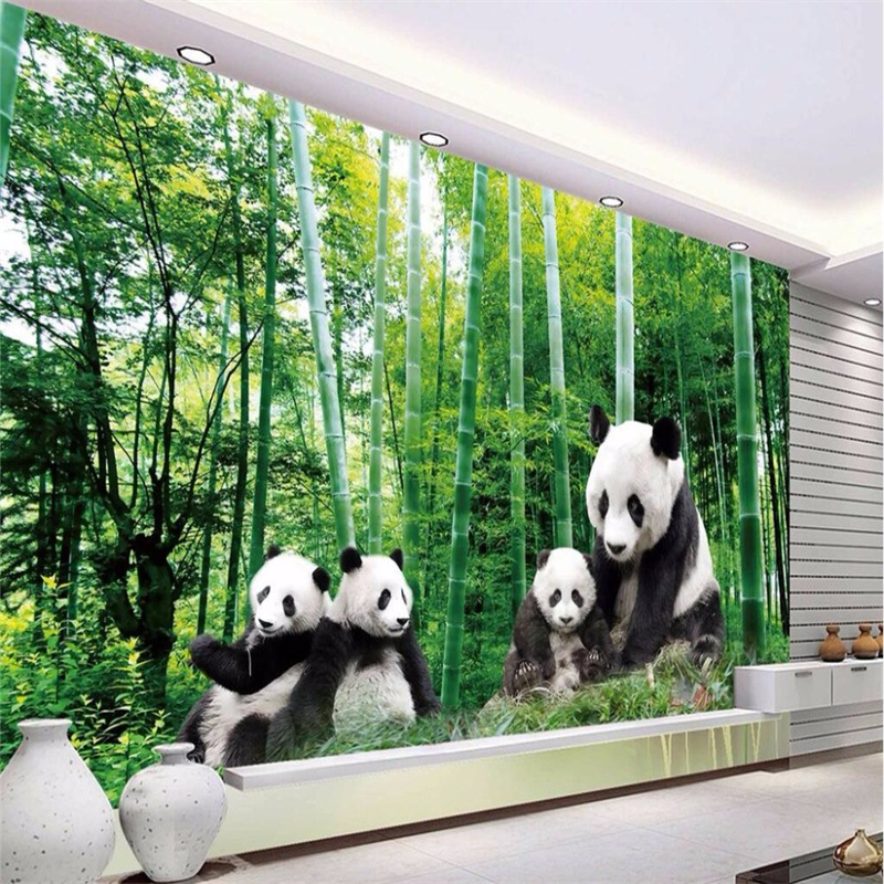 beibehang Photo 3d Wallpaper Deluxe HD Black Panda Green Bamboo World 3d Big Wallpaper Wall Mural papel de parede 3d para sala large photo wallpaper bridge over sea blue sky 3d room modern wall paper for walls 3d livingroom mural rolls papel de parede