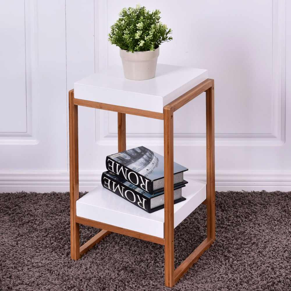 Goplus Side End Table Accent Coffee Table Bamboo Wood Storage Night Stand Modern Home Display Shelf White Nightstand HW55477