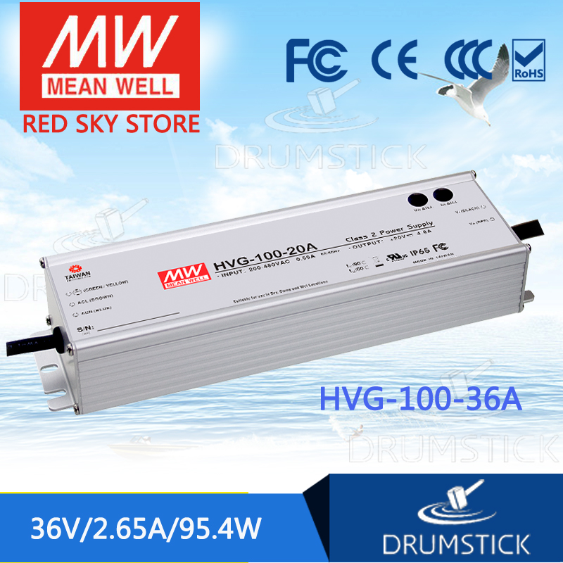 best-selling MEAN WELL HVG-100-36A 36V 2.65A meanwell HVG-100 36V 95.4W Single Output LED Driver Power Supply A type 1mean well original hvg 100 15a 15v 5a meanwell hvg 100 15v 75w single output led driver power supply a type