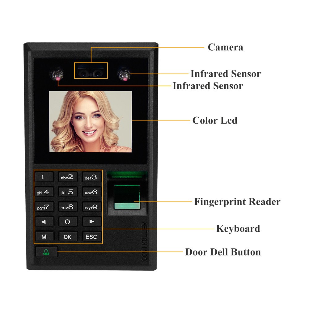 Image 4 - 2.8inch Facial Recognition Device USB Fingerprint Attendance Machine Access Control Keypad Reader Time Card Check in Machines-in Facial Recognition Device from Security & Protection
