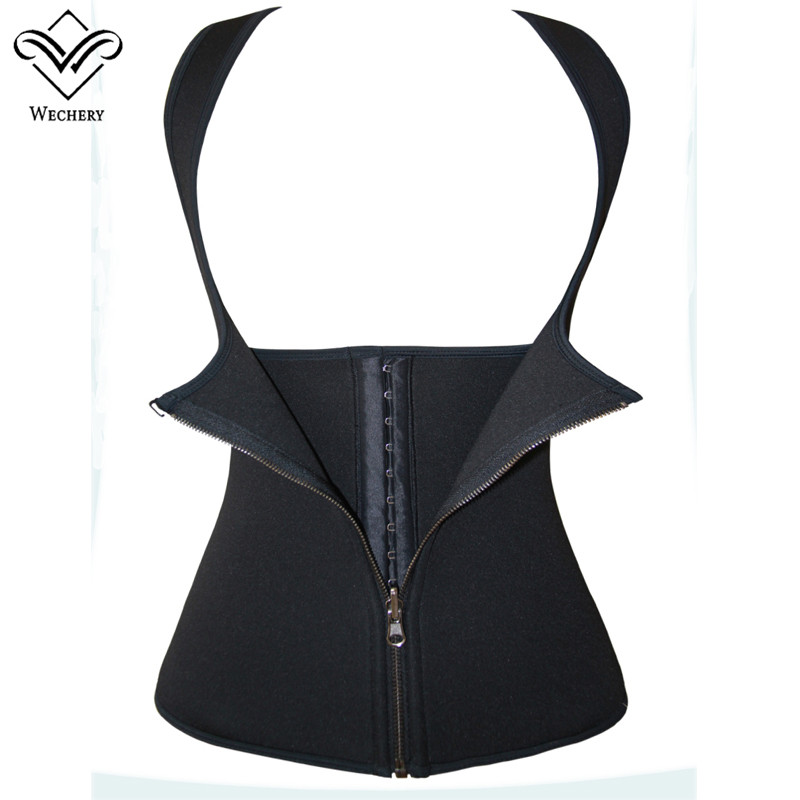 Wechery Neoprene Ultra Sweat Body Shaper Vest Plus Size Slimming Waist Trainer Waist Cinchers Corset black friday deals