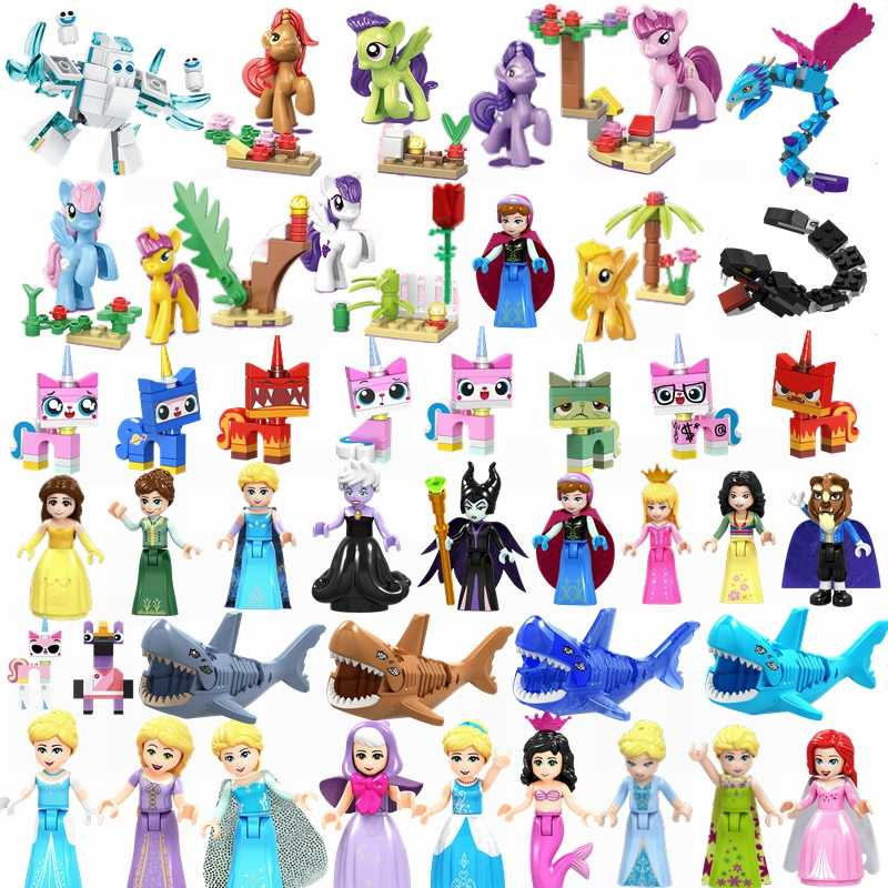 Legoings amigos princesa Unikitty gafas Kitty Horse Snake Shark hada madrina Brinquedos figuras bloques Legoings Friend Kit