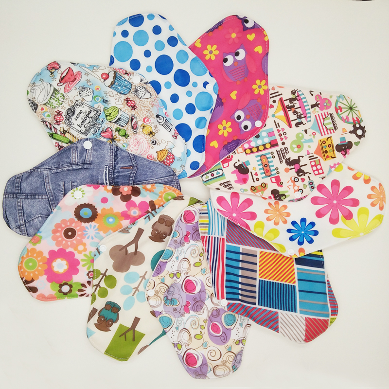 Free shipping 5pcs lady reusable cloth pads with bamboo cotton inner, cloth day night pads menstrual pad sanitary pads wholesale