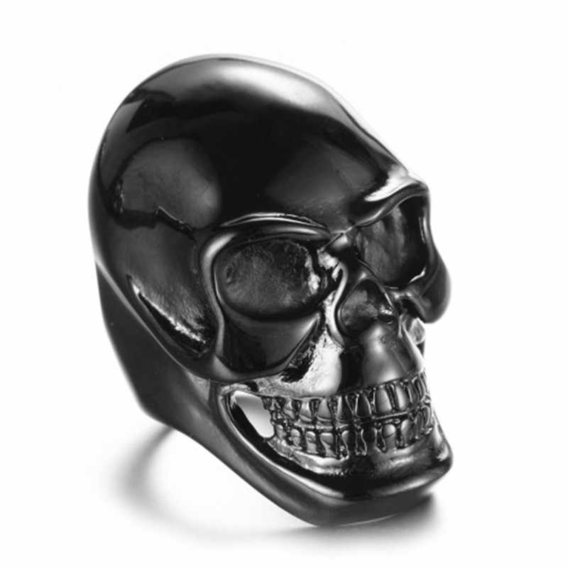 Gothic Mens Biker Stainless Steel Ring Fashion Black Skull Cool Man Finger Ring Vintage Punk Men's Black Ghost Head Ring Jewelry