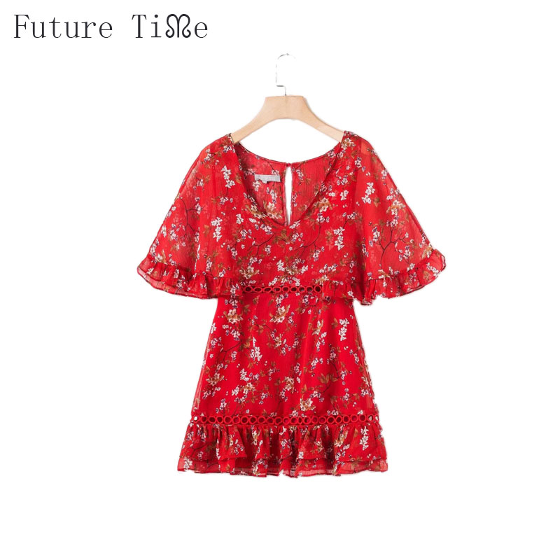 Future Time Beach Dress Flower Printing Hollow Out V-Neck Collar Dresses Women Summer Above Knee Length Back Button Dress DR377