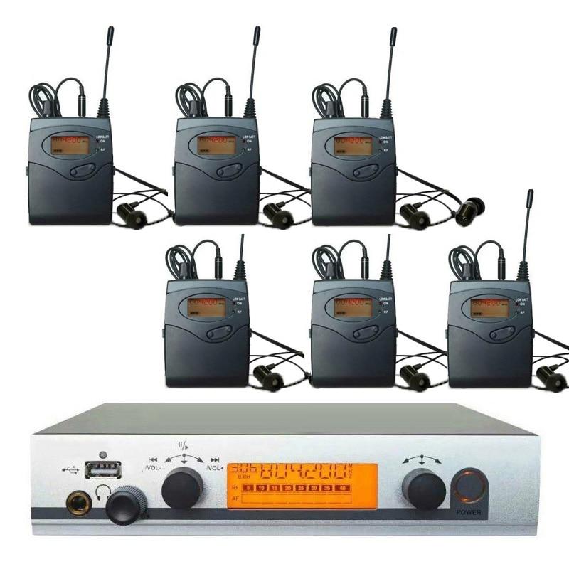 6 receptores en el sistema de monitor de oreja, sistema inalámbrico en la oreja, monitor de oreja profesional monitoreo de oreja con auriculares para live show