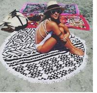 2018 explosion models geometric digital printing beach towel round tassels sunscreen shawl multi purpose bath towel wholesale