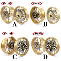 Arashi CBR1000RR Wheel Rim Rear Rims For Honda CBR 1000 RR 1000RR 2006 2016 Front Rear Brake Disc 2007 2008 2009 2010 GOLD 16 15