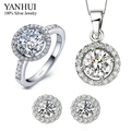 YANHUI 100% 925 Sterling Silver Wedding Jewelry Sets CZ Diamond Pendant Necklace Stud Earrings Ring Bride Sets For Women HS004