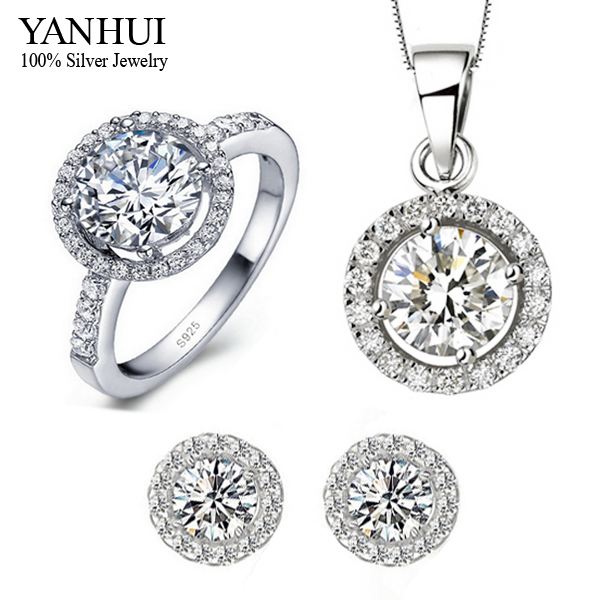 Yanhui 100 925 Sterling Silver Wedding Jewelry Sets Cz Diamond Pendant Necklace Stud Earrings Ring